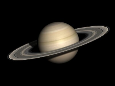 Plakat Saturn samodzielnie na czarno.