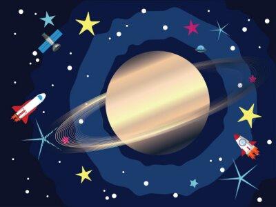 Plakat Saturn w kosmosie