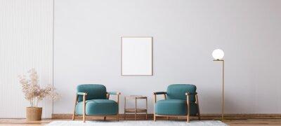Plakat Scandinavian bright living room design, blue armchairs with natural wooden furniture, 3d render