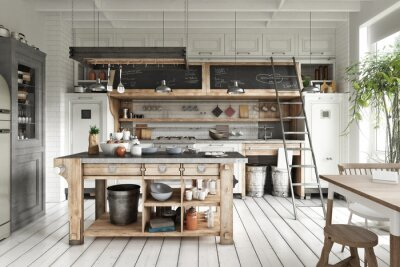 Plakat Scandinavian contemporary style kitchen with eating area and simplistic rustic wood accents. 3d rendering