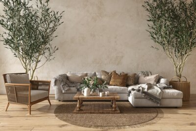 Plakat Scandinavian farmhouse style beige living room interior with natural wooden furniture. Mock up wall background. 3d render illustration.