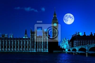 Plakat Scena nocy w Londynie pokazano Big Ben i jasny księżyc
