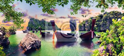 Plakat Scenic Phuket landscape.Seascape and paradisiacal  idyllic beach. Scenery Thailand sea and island .Adventures and exotic travel concept