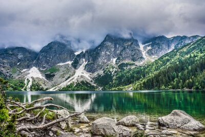 Plakat Scenic View Of Lake By Mountains Against Sky