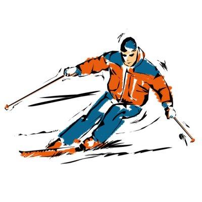 Plakat sci, illustrazione di uno Sciatore