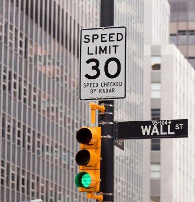 Plakat Ściana przy ulicy znak drogowy w rogu New York Stock Exchange