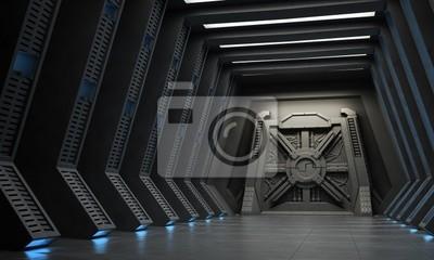 Plakat Science fiction interior -korytarz z wzmocnionym bramy.