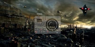 Plakat Science-fiction miasta i krajobraz