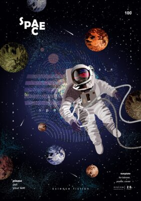 Plakat science fiction, vector illustration of an astronaut in space, the moon and the planet in a starry night sky, a template for the design of a modern poster or magazine cover