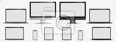 Plakat Screen mockup. Smartphone, tablet, laptop and monoblock monitor silver and black color with blank screen for you design. Vector illustration Ai 10