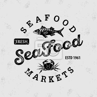 plakat seafood market logo vintage badge design vector