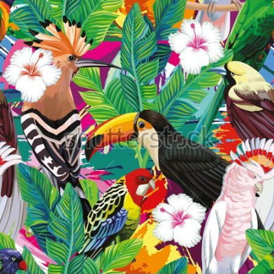 Plakat Seamless a composition of tropical bird toucan, parrot, hoopoe and palm leaves with white hibiscus flowers on multicolor background painted with a brush