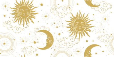 Plakat Seamless celestial pattern with golden sun and crescent moon on white background, vintage boho ornament for astrology and tarot. Modern vector hand drawing illustration.