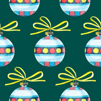 Plakat Seamless Christmas pattern with a Christmas toys. An ornament with glass balls. Yellow, red and blue retro Christmas tree toy with a yellow bow. Watercolor illustrations on a green background.