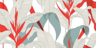 Plakat Seamless floral pattern in vintage oriental style. Exotic leaves with red Heliconia flowers on a light background. Vector illustration