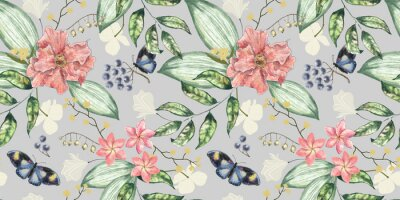 Plakat Seamless floral pattern. Light botanical background with delicate flowers, berries, butterflies and and leaves. Hand drawing watercolor illustration. Design for wallpaper, wrapping paper, fabric