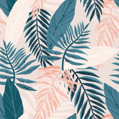 Plakat Seamless hand drawn tropical vector pattern with exotic palm leaves and various plants on light background.