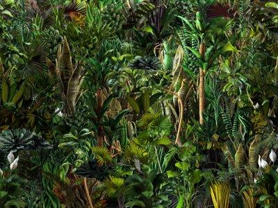 Plakat Seamless jungle horizontal pattern of exotic tropical green plants, palm tree leaves, banana trees, monstera leaves, flowers. 3D nature illustration, wallpaper, seamless summer print, dark background