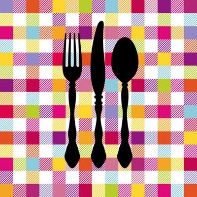 Plakat Seamless Pattern Coloured Sprawdź Sztućce