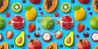 Plakat Seamless pattern of different fruits and berries, flat lay, top view, tropical and exotic texture
