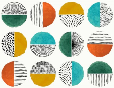 Plakat Seamless pattern Of Doodle Creative minimalist Abstract art circle shape and Hand Drawn doodle Scribble Circle. Design elements or background for wall decoration, postcard, poster or brochure