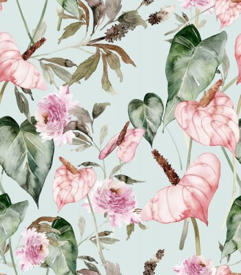 Plakat Seamless pattern with anthuriums watercolor painting