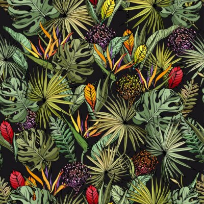 Plakat Seamless pattern with colorful exotic flowers and green tropical leaves. Hand drawn vector on black background.