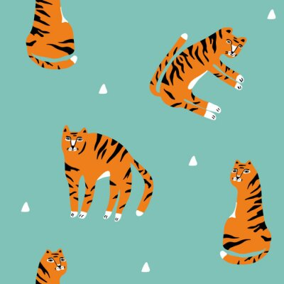 Plakat seamless pattern with cute hand drawn tigers on blue retro background.