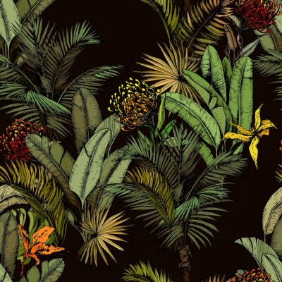 Plakat Seamless pattern with green tropical leaves and exotic flowers. Hand drawn vector illustration on black background.