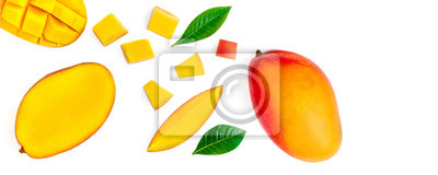 Plakat Seamless pattern with mango fruit with pieces. Tropical Mango isolated on the white background.  Top view. Flat lay.