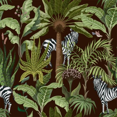Plakat Seamless pattern with tropical trees and zebra. Vector.