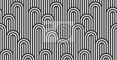 Plakat Seamless pattern with twisted lines, vector linear tiling background, stripy weaving, optical maze, twisted stripes. Black and white design.