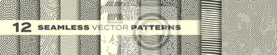Plakat Seamless patterns vector set, abstract organic lines backgrounds. Creative design biological patterns with memphis dots and irregular squiggle line shape texture