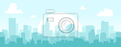 Plakat Seamless silhouette of the city. Cityscape with buildings. Simple blue background. Urban landscape. Beautiful template. Modern city with layers. Flat style vector illustration.