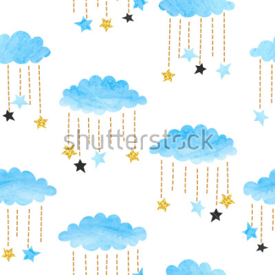 Plakat Seamless vector blue watercolor clouds and stars pattern.