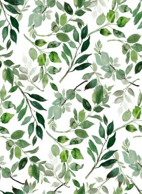 Plakat Seamless watercolor pattern with branches.