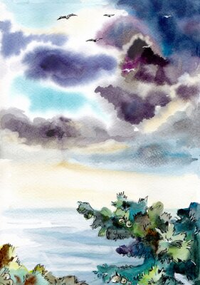 Plakat Seascape stormy sky and seagulls. Watercolor illustrations for printing on travel postcards, cards, wallpapers, background