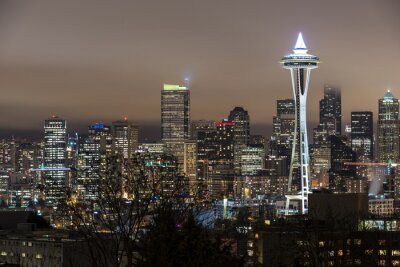 Plakat Seattle w nocy