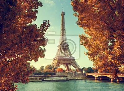 Plakat Seine in Paris with Eiffel tower in autumn time