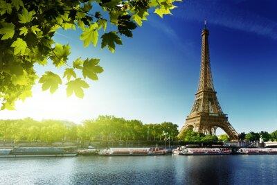 Plakat Seine w Paryżu z wieży Eiffla