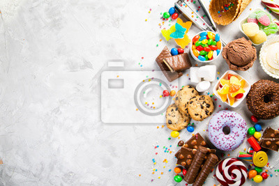 Plakat Selection of colorful sweets - chocolate, donuts, cookies, lollipops, ice cream top view