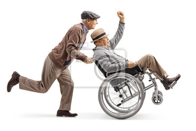 Plakat Senior man pushing a positive disabled man in a wheelchair gesturing with hand