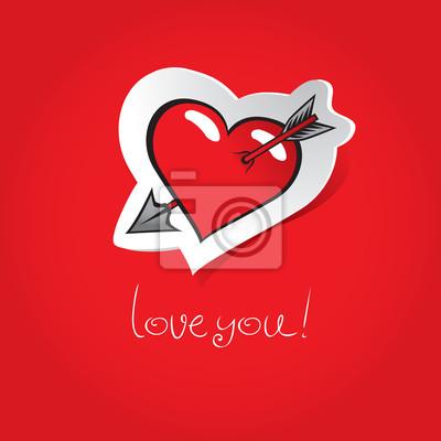 Plakat Serce przebite strzałą na czerwonym tle