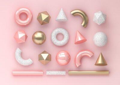 Plakat Set 3d odpłaca się realistycznych prymitywy na różowym tle. Pojedyncze elementy graficzne. Kule, torusy, tuby, stożki i inne geometryczne kształty w złotych metalicznych i białych kolorach dla modnych