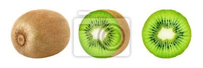 Plakat Set całe i plasterka kiwi owoc odizolowywać