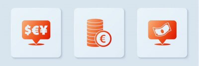 Plakat Set Coin money with euro symbol, Currency exchange and Stacks paper cash. White square button. Vector