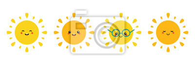Plakat Set, collection of happy, smiling, joyful cartoon style sun characters for summer, vacation design.