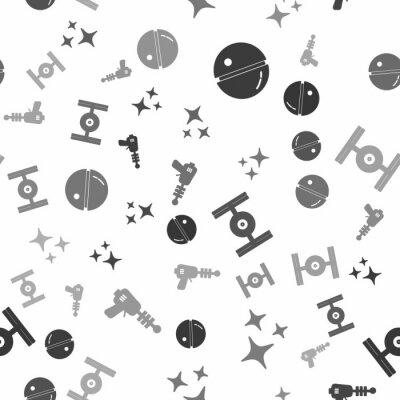 Plakat Set Death star, Falling star, Cosmic ship and Ray gun on seamless pattern. Vector