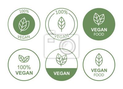 Plakat Set flat vegan icon on white background. Bio, Ecology, Organic logos and badges, label, tag. Vector illustration design