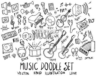 Plakat Set Muzyczna ilustracyjna ręka rysujący doodle nakreślenia kreskowy wektor eps10